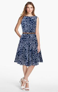 d3d1f30b485 Sleeveless Printed Fit And Flare Dress - GlowRoad