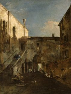 Francesco Guardi (Italian, 1712-1793), A Venetian Courtyard, oil on canvas, ca. 1770's. Painted surface H: 21 7/16 x W: 16 in. (54.4 x 40.7 cm). 37.607. The Walters Art Museum