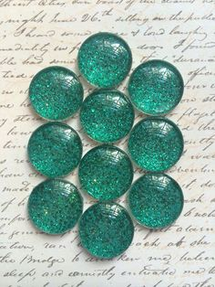 $10 IN STOCK!  Use Coupon Code PIN10 10 Emerald Green Push Pins  Glass Push Pins  by TheVelvetVine #christmaspushpins #thevelvetvine #pushpins