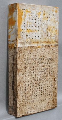 Tracking  2009  Encaustic/Burned Handmade paper/Oil Bar on panel  16 x 8 x 2 inches