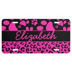 Pink and Black Leopard Print and Paws Personalized License Plate for Her.
