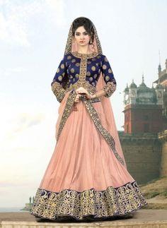 Peach wedding designer wear Panjabi lengha with long choli