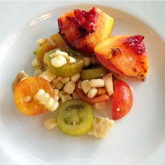 Grilled Peach, Corn, and Tomato Salad: Perfect balance of fresh flavors in a summertime salad!