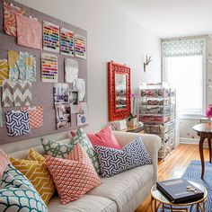 I would be in heaven to have some of Caitlin Wilson's textile line, even if it is just fabric scraps pinned to a wall! lol