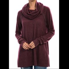 "Wine Fleece Cowl Neck Beautiful wine color top features cowl neck and soft, cozy fleece fabric. Approximately 30"" long. 77% polyester, 19% rayon, 4% spandex. Made in U.S.A.. Brand new for boutique retail. No trades, no holding, no offsite payment.    ❗️DO NOT PURCHASE THIS LISTING❗️       Request size and I will list it for you        PRICE IS FIRM UNLESS BUNDLED               ❤️  10% Off Bundles Tops"
