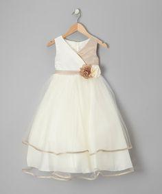 Champagne & Ivory Flower Surplice Dress - Toddler & Girls by Kid's Dream #zulily #zulilyfinds