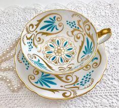 Vintage Blue Enamel Gilded Paragon China Tea Cup and Saucer, Made in England China Tea Cups, Chocolate Cups, Teapots And Cups, Vintage China, Vintage Teacups, My Cup Of Tea, Tea Cup Saucer, Tea Time, Tea Party