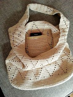 Crochet market bag made with cotton beige thread. With a small phone pocket inside. Approximate size is tall and tall with Crochet Clutch, Crochet Handbags, Crochet Purses, Crochet Bags, Knitted Bags, Crochet Gifts, Knit Crochet, Crochet Market Bag, Crochet Halter Tops