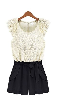 Chic Cap Sleeve Lace Paned Color Blocking Rompers for Women