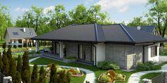 Projekt domu Z279 Parterowy dom z odwróconym układem, garażem oraz dachem wielospadowym. Bungalow House Design, Home Projects, Gazebo, House Plans, Outdoor Structures, Nice, Outdoor Decor, Home Decor, Bedroom