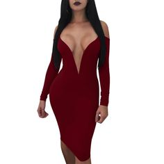 Cheap bandage dress, Buy Quality bodycon dress directly from China midi dress Suppliers: Deep V Neck Backless Women Club Dress Robe Sexy Off Shoulder Long Sleeve Black Red Bodycon Dresses Summer Sexy Party Midi Dress Sexy Outfits, Dress Outfits, Fashion Outfits, Fashion Women, Dress Fashion, Club Dresses, Sexy Dresses, Clubwear, Robes Midi