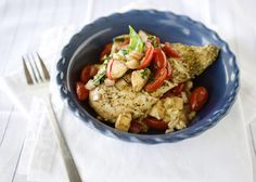 Oven Baked Risotto with Caprese Chicken recipe - A delicious take on a caprese salad. Simple and filling meal.