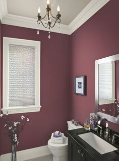 Little Dream Houses: Red Bathroom Ideas - Poised, Plum-Red Bathroom - Paint Color Schemes #GotItFree
