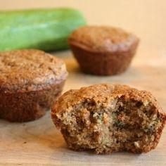 Whole-wheat, vegan zucchini muffins