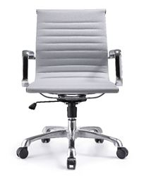 The Woodstock Marketing Joplin series ribbed back gray leather conference chair is now available for sale with free shipping at OfficeAnything.com. This contemporary mid back office chair in gray leather is a top choice of industry professionals.