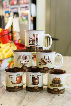 Enjoy your morning coffee in a decorative collectors mug from Cracker Barrel Old Country Store.