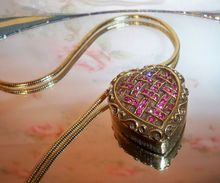 "Schiaparelli ""Shocking"" Pink Rhinestone Heart Solid Perfume Pendant, $160 or best offer"