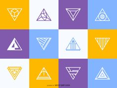 Collection of bright and flat triangular logos in multiple colors. Designs feature different geometric details and styles. Use them in logos, labels,