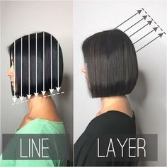 Line (one-length) vs Layers ✂️ Swipe 👉 to compare then side-by-side. 😊 _____________________ The photo on the left is a one-length bob I… One Length Bobs, One Length Hair, Cut My Hair, Hair A, Hair Inspo, Hair Inspiration, Hair Cutting Techniques, Hair Porosity, Corte Y Color