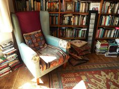 A cozy reading nook in my own little library.