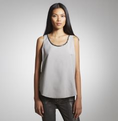 Tank Top With Embellished Neck. Kenneth Cole New York. Black/size small