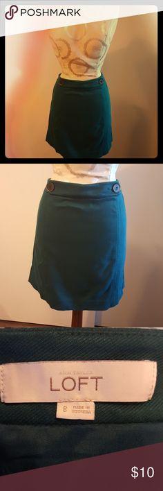 LOFT dark teal midi skirt Dark teal knit skirt with cute buttons! LOFT Skirts Midi