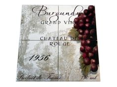 Grand Vin Burgundy - CB - Tile Mural A wine tile mural adds elegance and interest to your kitchen wall tile area and makes a wonderful kitchen splash-back idea. Pictures of wine on tiles and images of wines bottles on tiles and wine glasses on tiles is timeless and these decorative tiles of wine blend with any decor. Your kitchen will come to life with a tile mural featuring wine.