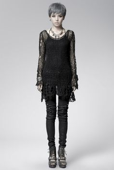 Ragged sweater knit on over-sized needles. Idea for apocalyptic costume?