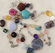 Colorful Gemstone Necklace silver chain with by Intentional, $52.00