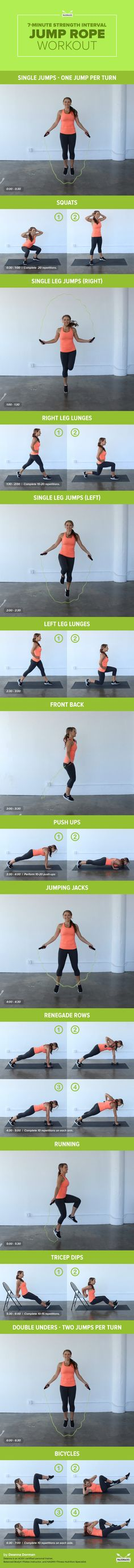 We're bringing you another twist on the 7-Minute Workout using the classic jump rope. Stash it in your gym bag or purse for an easy way to build strength and agility anywhere!  For this workout you will need a jump rope, a set of dumbbells and a chair or bench. Move as quickly as possible from one exercise to the next with NO rest — it'll all be over in just seven minutes! For the full workout, visit us at: http://paleo.co/jumpropeWO