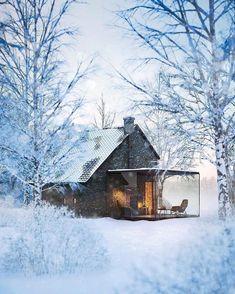 937x1170, 246 Kb / зима, снег, камин, дом, стекло, веранда