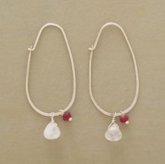 """Rose quartz and garnets symbolize unconditional love, suspended from sterling oval hoops. Handmade in USA exclusively for Sundance. 1-1/2""""L."""