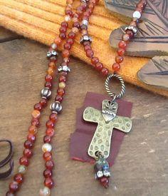 BoHo CroSS AGaTe LoNG Necklace/ Gemstone BOHO by Ivanwerks on Etsy