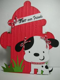Fire Hydrant and Puppy shaped handmade card Furever Friends. $3.50, via Etsy.