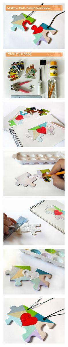 How to make a cute puzzle necklace via craft.tutsplus.com. #FreeTutorial #Heart #DIY #Valentine