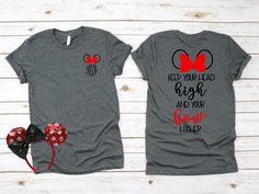 Disney / Minnie Bow / Head High Bow Higher / Family Tee / Disney World / Disneyland / Mickey / Minnie / T-Shirt / T Shirt / Tee Shirt - Senior Shirts - Ideas of Senior Shirts - Disney World Outfits, Disney Family Outfits, Disney Fashion, Disney Vacation Shirts, Disney Shirts For Family, Disney Cruise, Cute Disney Shirts, Disney Trips, Disney Christmas Shirts