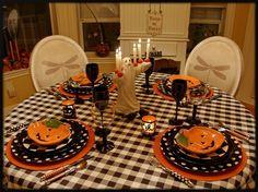 Halloween Tablescape....checks and polka dots