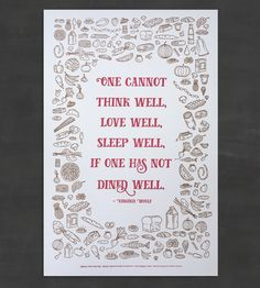 Dined Well Letterpress Food Art Print by lenspeace on Scoutmob Shoppe