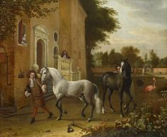 Grooms with Horses,a Grey and a Dark Bay,at Nijenrode Castle,1686? OIl on canvas,79.3x96.3 cm, Melchior de Hondecoeter (Utrecht 1636-Amsterdam 1695)This scene, depicts the main entrance to the Nijenrode Castle (which survives to this day) and the terrace, separated from the moat by a balustrade, where elegant figures strut like cranes and where liveried grooms tend more fine Spanish horses.