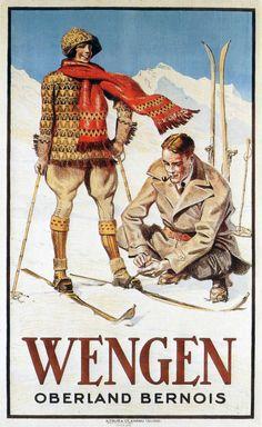 vintage ski Poster for Wengen, in the Bernese Oberland, Jungfrauregion, Switzerland, par Maurie Daboux ◡ً❤ Swiss Alps Skiing, Evian Les Bains, Party Vintage, Vintage Ski Posters, Snow Holidays, Tourism Poster, Vintage Winter, Vintage Holiday, Winter Fun