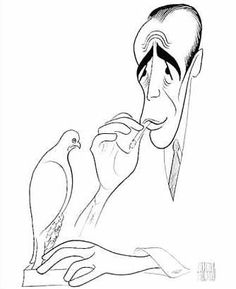 """The Maltese Falcon"" with Humphrey Bogart...caricature by Al Hirschfeld"