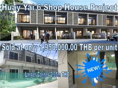 Huay Yai Town House for Sale:  located Huay Yai road 2 km from Sukhumvit road, 50 m from main road, near local temple, a large supermarket, attractions minutes from there, 7 town houses in 1 line, unfurnished, private car in front, 2 bedroom, 2 bathrooms, TV room, open kitchen area, sold at 1,950,000.00 THB, left corner single unit with extra land 2,650,000.00 THB, transfer tax split 50/50 between buyer and seller. Call 0800176100, for details…