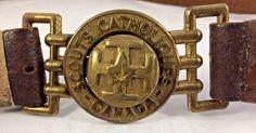 Canada Catholic Scouts Vintage Brass Belt Buckle & Original Leather Belt & More