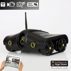 Black Cool Spy Rc Tank with Camera Support Infrared Night Vision App-controlled for Iphone Ipad Touch Kid Gifts...