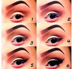 Step by step eye makeup. Colorful makeup in pink-lavender shades with a winged eyeliner