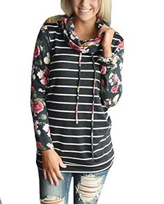 411719e77 YILLEU Women Casual Floral Print Long Sleeve Striped Cowl Neck Pullover  Sweatshirts Tops Blouse - New
