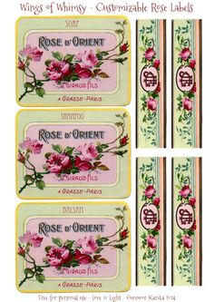 Customizable French Rose Labels