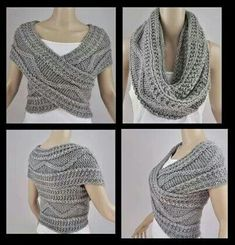 "diy_crafts-Bufanda circular ""Grey Vest Jacket Bolero Snood Knitted by FrenchCrochetStory"" Crochet Scarves, Crochet Shawl, Crochet Clothes, Diy Clothes, Knit Crochet, Crochet Shrugs, Knit Cowl, Sewing Clothes, Cable Knit"