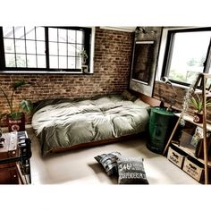 Design your industrial-style bedroom using concrete and exposed brick walls, industrial beds, industrial sidetables, exposed steel piping and pops of colour Urban Industrial Decor, Industrial Bed, Home, Bedroom Design, Industrial Style Bedroom, Bedroom Furniture, Industrial Interiors, Home Interior Design, Bedroom Vintage