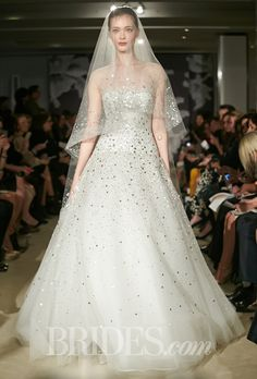 """""""Celeste"""" tulle ball gown wedding dress with all-over silver embroidered details and illusion cap sleeves, Carolina Herrera Spring 2015 2015 Wedding Dresses, Wedding Dress Shopping, Wedding Dress Styles, Wedding Gowns, Mod Wedding, Trendy Wedding, Tulle Wedding, Glamorous Wedding, Wedding Trends"""